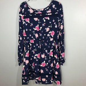 Long-sleeve Floral Dress w/ Drawstring Waist Sz Lg
